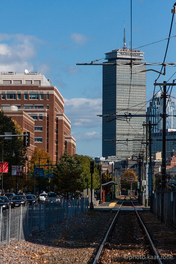 Green Line Rails and Prudential Tower